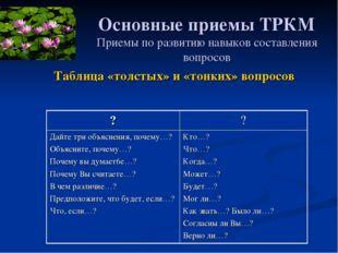 Основные приемы ТРКМ Приемы по развитию навыков составления вопросов Таблица