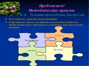 Предлагаем! Методические приемы № 6. Техника проведения дискуссии Роль учител