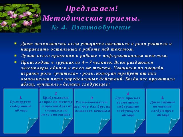 Предлагаем! Методические приемы. № 4. Взаимообучение Дает возможность всем уч...