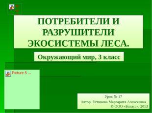 ПОТРЕБИТЕЛИ И РАЗРУШИТЕЛИ ЭКОСИСТЕМЫ ЛЕСА. Окружающий мир, 3 класс Урок № 17