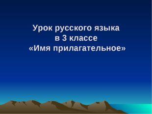 Урок русского языка в 3 классе «Имя прилагательное»