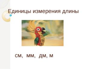 Единицы измерения длины  см, мм, дм, м