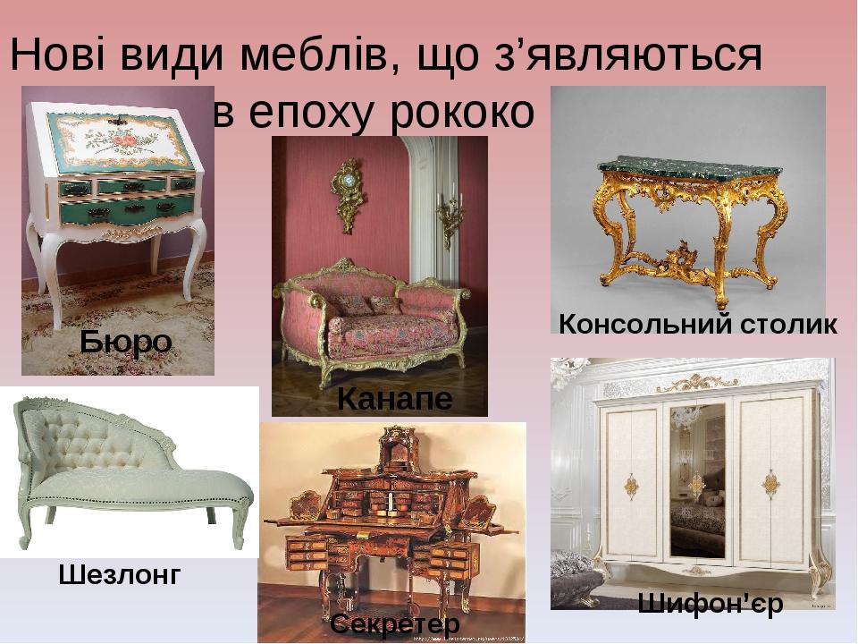 Нові види меблів, що з'являються в епоху рококо Бюро Канапе Консольний столик...