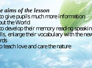 The aims of the lesson - to give pupils much more information about the World