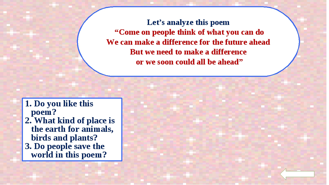 """Let's analyze this poem """"Come on people think of what you can do We can make..."""