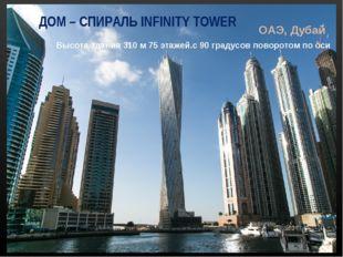 ДОМ – СПИРАЛЬ INFINITY TOWER ОАЭ, Дубай Высота здания 310 м 75 этажей.с 90 гр