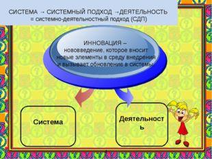 СИСТЕМА → СИСТЕМНЫЙ ПОДХОД →ДЕЯТЕЛЬНОСТЬ = системно-деятельностный подход (С