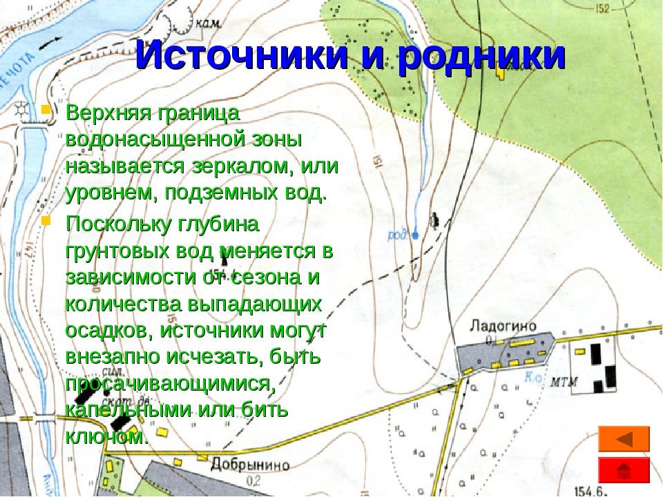 Источники и родники Верхняя граница водонасыщенной зоны называется зеркалом,...