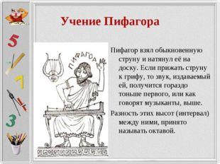 Учение Пифагора Пифагор взял обыкновенную струну и натянул её на доску. Если