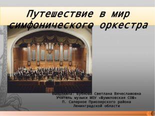 Путешествие в мир симфонического оркестра Выполнила: Бубнова Светлана Вячесла
