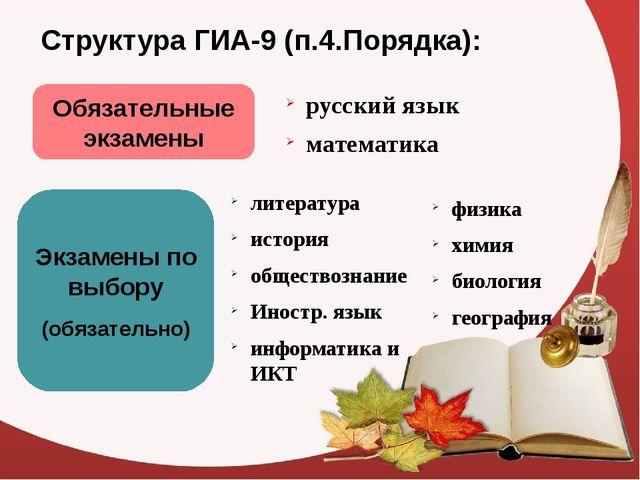 Структура ГИА-9 (п.4.Порядка): Обязательные экзамены русский язык математика...