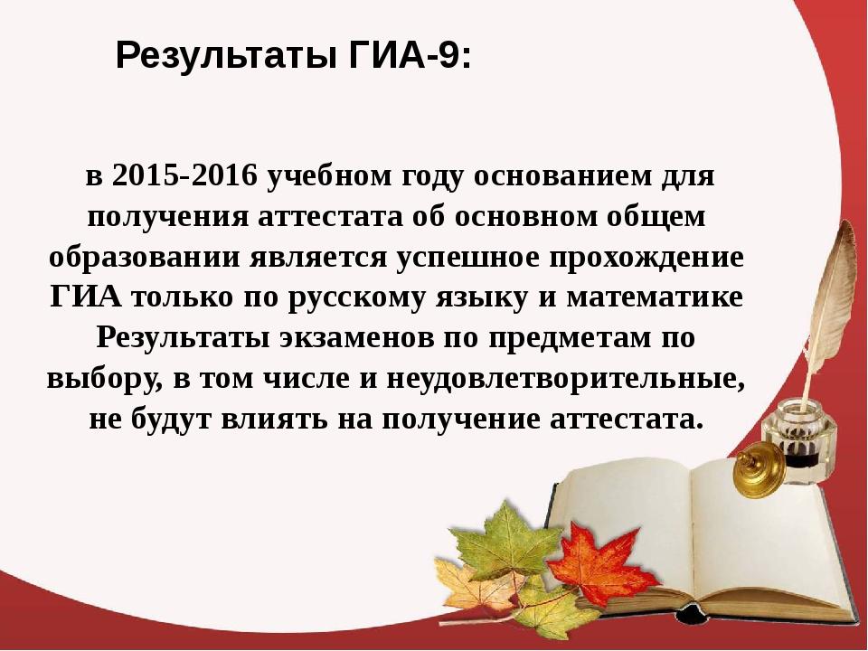 Результаты ГИА-9: в 2015-2016 учебном году основанием для получения аттестата...