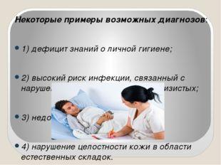 Некоторые примеры возможных диагнозов: 1) дефицит знаний о личной гигиене; 2)