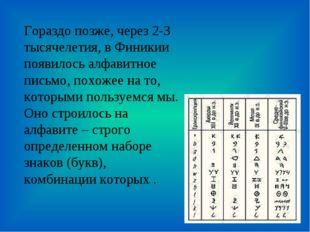 Гораздо позже, через 2-3 тысячелетия, в Финикии появилось алфавитное письмо,