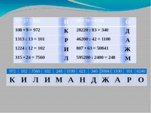 23 • 27 = 621 Н 80 • 78 = 6240 О 108 • 9 = 972 К 28220 : 83 = 340 Д 1313 : 13