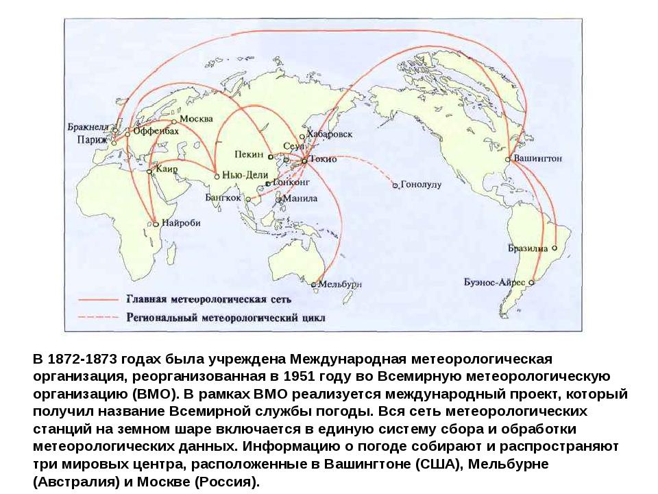 В 1872-1873 годах была учреждена Международная метеорологическая организация...
