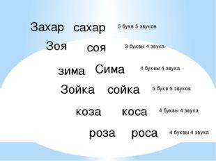 Захар сахар Зоя соя зима Сима Зойка сойка коза коса роза роса 5 букв 5 звуков