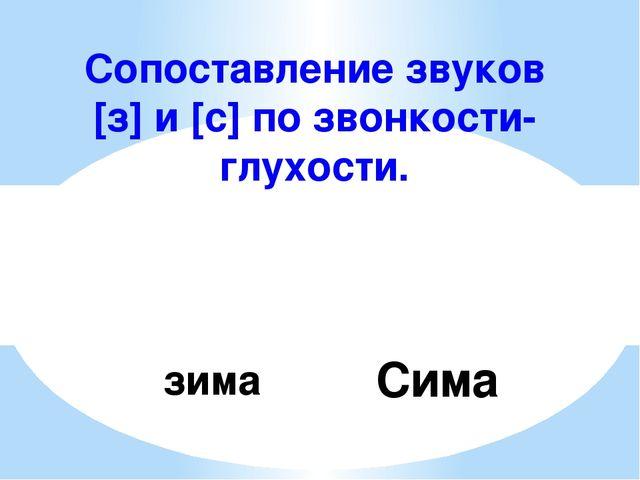 Сопоставление звуков [з] и [с] по звонкости-глухости. зима Сима