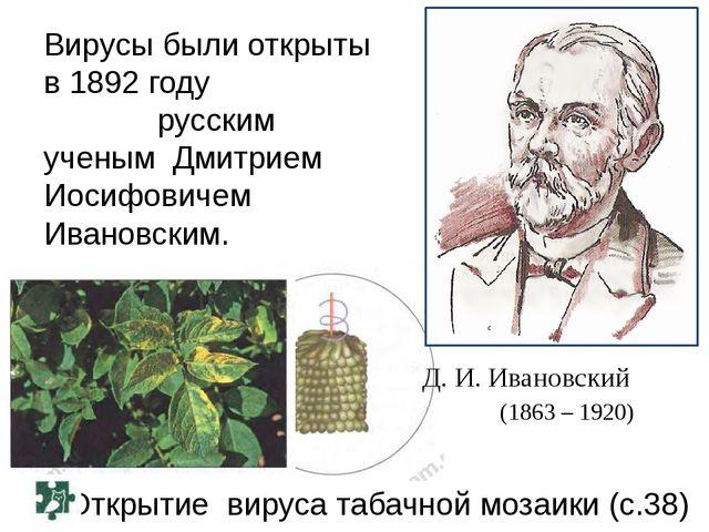 Открытие вируса табачной мозаики (с.38) Д. И. Ивановский (1863 – 1920) Вирусы...