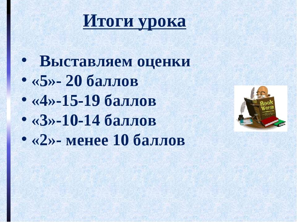 Итоги урока Выставляем оценки «5»- 20 баллов «4»-15-19 баллов «3»-10-14 балл...