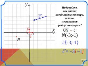 О 1 N(-3;-1) x y Подумайте, как найти координаты вектора, если он не являетс