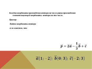 Каждая координата произведения вектора на число равна произведению соответст