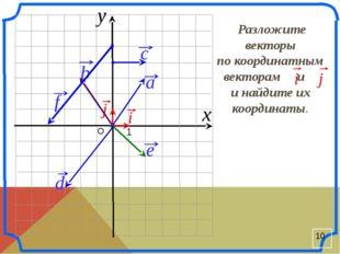О 1 x y i j b Разложите векторы по координатным векторам и и найдите их коор