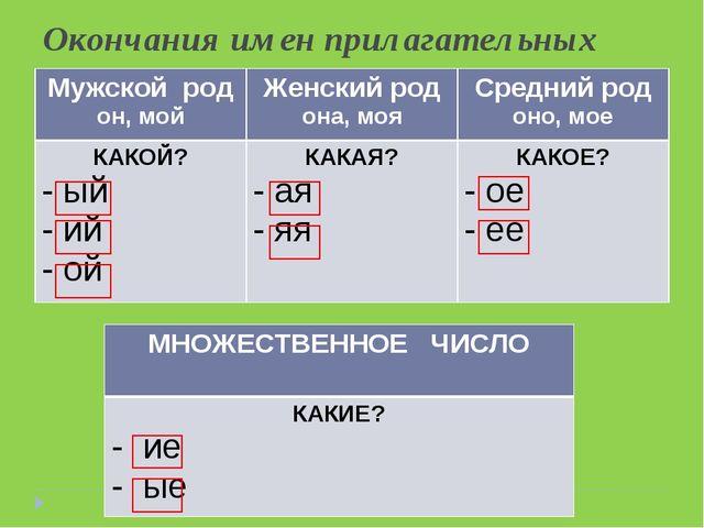 Окончания имен прилагательных Мужской род он, мойЖенский род она, мояСредни...