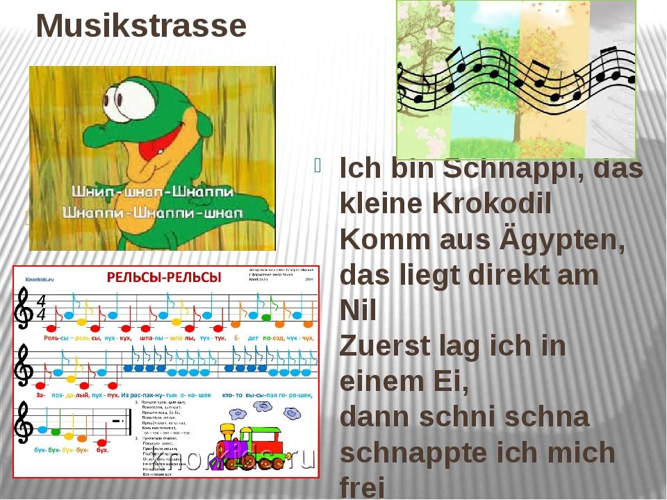 Musikstrasse Ich bin Schnappi, das kleine Krokodil Komm aus Ägypten, das lie...