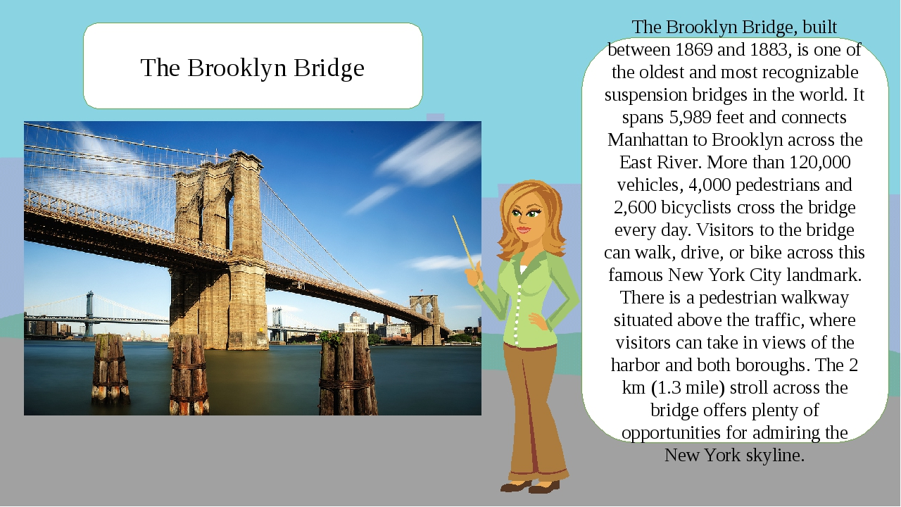 The Brooklyn Bridge, built between 1869 and 1883, is one of the oldest and mo...