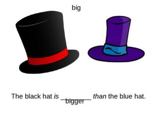 The black hat is ________ than the blue hat. bigger big