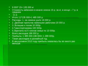 9 000* 15= 135 000 кг Стоимость кабачков в начале сезона 15 р. за кг, в конце