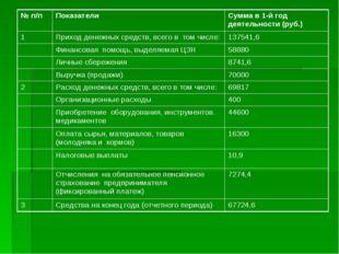№ п/п ПоказателиСумма в 1-й год деятельности (руб.) 1Приходденежных средс