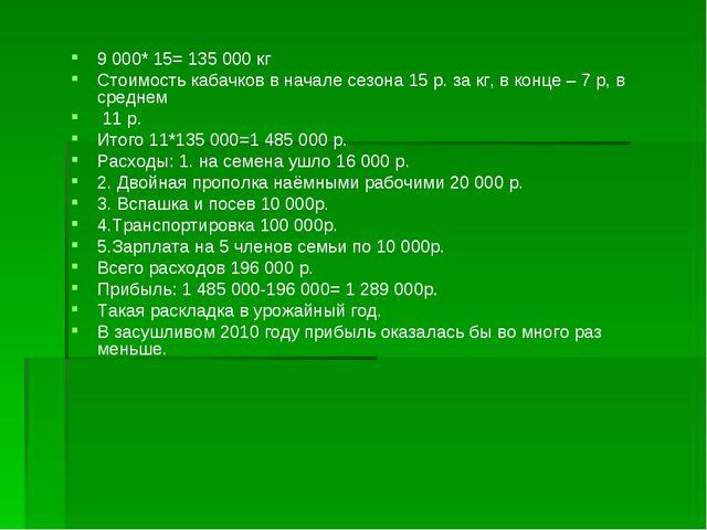 9 000* 15= 135 000 кг Стоимость кабачков в начале сезона 15 р. за кг, в конце...