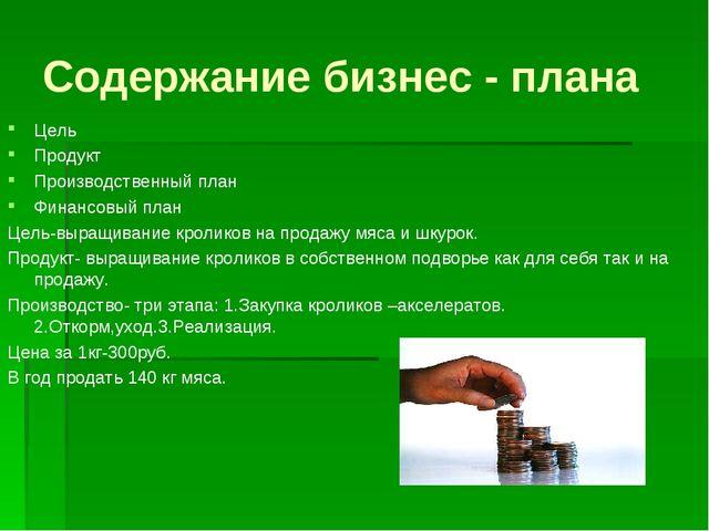 Содержание бизнес - плана Цель Продукт Производственный план Финансовый план...