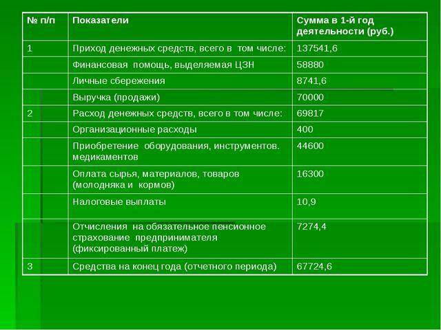 № п/п ПоказателиСумма в 1-й год деятельности (руб.) 1Приходденежных средс...
