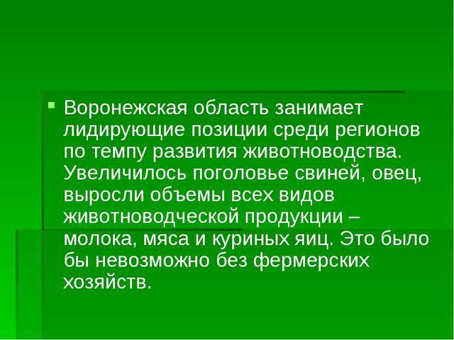Воронежская область занимает лидирующие позиции среди регионов по темпу разви...
