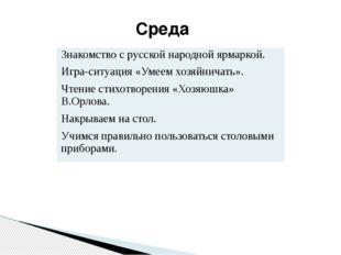Среда Знакомство с русской народной ярмаркой. Игра-ситуация «Умеем хозяйничат