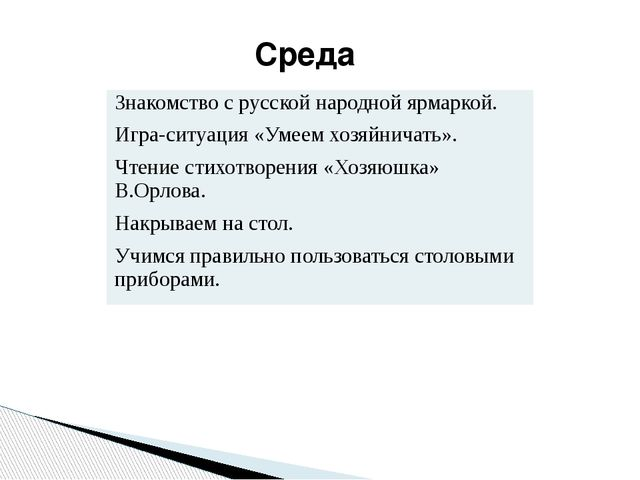 Среда Знакомство с русской народной ярмаркой. Игра-ситуация «Умеем хозяйничат...