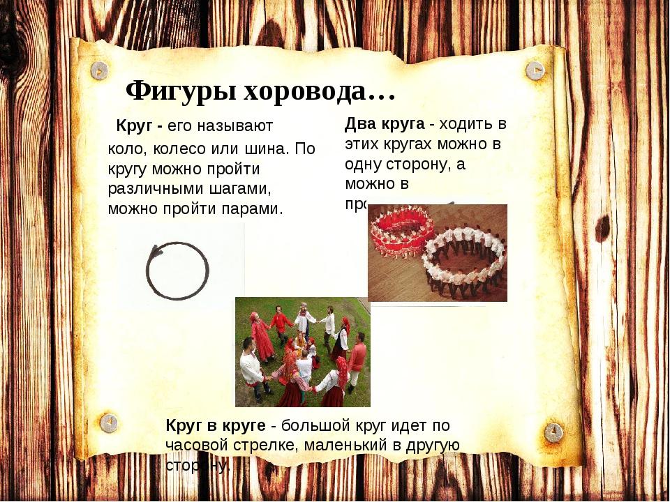 Фигуры хоровода… Круг - его называют коло, колесо или шина. По кругу можно пр...