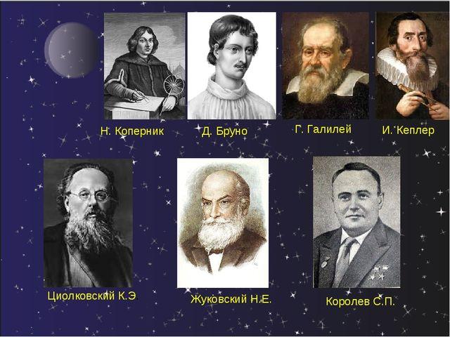 Н. Коперник Д. Бруно Г. Галилей И. Кеплер Королев С.П. Жуковский Н.Е. Циолков...