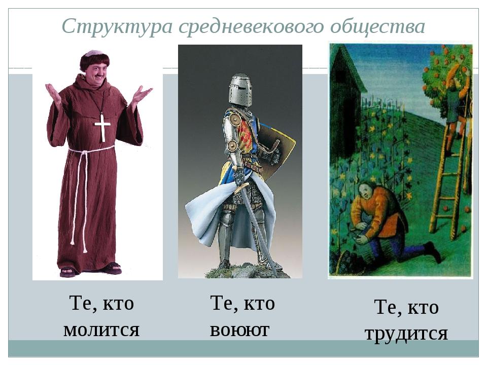 Структура средневекового общества Те, кто молится Те, кто воюют Те, кто труди...