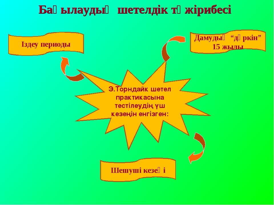 """Бақылаудың шетелдік тәжірибесі Іздеу периоды Шешуші кезеңі Дамудың """"дүркін"""" 1..."""