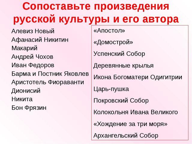 Сопоставьте произведения русской культуры и его автора Алевиз Новый Афанасий...