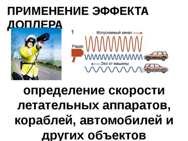 ПРИМЕНЕНИЕ ЭФФЕКТА ДОПЛЕРА определение скорости летательных аппаратов, корабл...