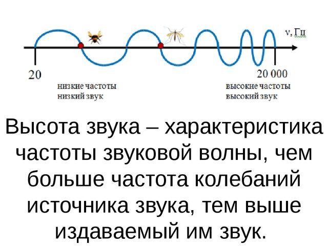 Высотазвука – характеристика частоты звуковой волны, чем больше частота коле...