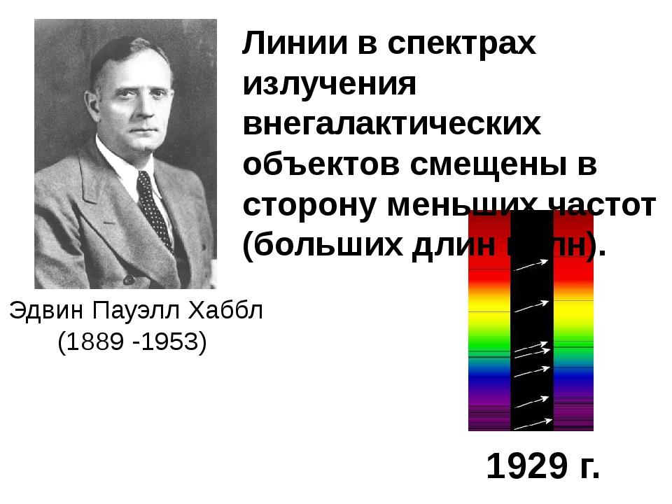 Эдвин Пауэлл Хаббл (1889 -1953)  1929 г. Линии в спектрах излучения внегала...