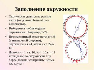 Заполнение окружности Окружность делится на равные части (их должно быть чётн