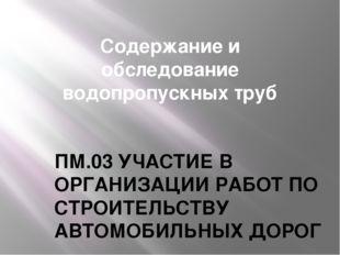 Содержание и обследование водопропускных труб ПМ.03 УЧАСТИЕ В ОРГАНИЗАЦИИ РАБ