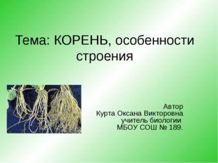 Тема: КОРЕНЬ, особенности строения Автор Курта Оксана Викторовна учитель биол